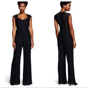 Adrianna Papell Lace Flare Leg Jumpsuit
